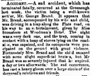 George Brand Death Notice, Buggy Accident, Greenough