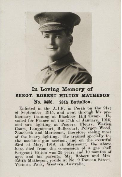 Robert Hilton Matheson WWI KIA Western Australia