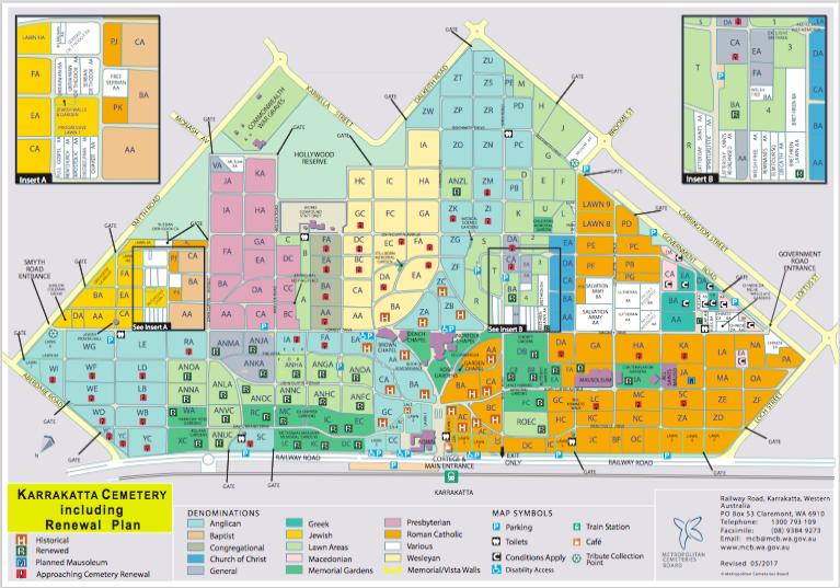 Karrakatta Cemetery Map - Cemetery Renewal, Perth, WA