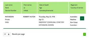Robert Hilton Matheson CWGC Search Record