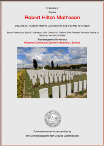 Robert Hilton Matheson CWGC Commemorative Certificate